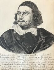 Oliver Cromwell 1599-1658  dessin plume encre XIXe anonyme  Lord Protecteur