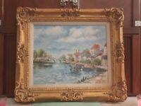 Original Oil On Canvas Painting By Barbara Austin (Parisian Bridge) Signed