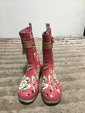 Ladies Joules Pink & Cream Floral Design Calf High Wellies Wellington Boots Uk 5