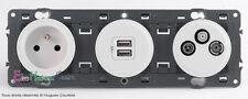 Prise 2P+T+prise USB+TVRSAT 2 cables Céliane blanc 67122+67462+67389+68256+80253