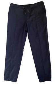 Hugo Boss Mens Size XL 36-38 W Navy Virgin Wool Smart Trousers