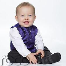 Baby Boys Purple & Black Waistcoat Suit, Page Boy Suits, Diamond Waistcoat