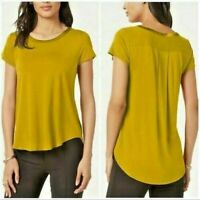 New ALFANI Womens Yellow Short Sleeve Blouse Top Satin Trim Scoop Neck L