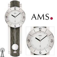 AMS 5294 Radio Reloj De Pared con Péndulo Cristal Mineral para salón