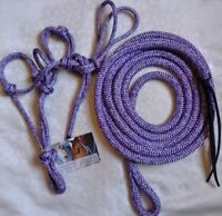 Rope Halter & 8ft (2.4m) Lead with Loop End - Lavender Colour- CHOICE OF SIZE