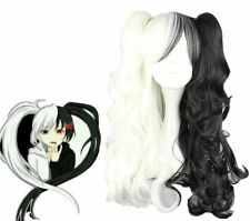 Wigs,Anime DANGANRONPA femme monokuma, noir/ blanc Long Ondulé cosplay