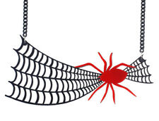 Large Black & Red Acrylic Spider & Web Necklace - Goth Witch Halloween Horror