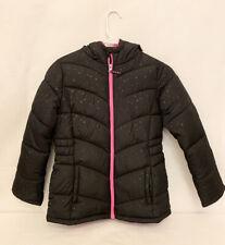 "Girls Faded Glory Black Winter Jacket Size L Large 10 12 17"" Puffy Winter Snow"
