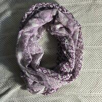 Purple & White Boho Printed Infinity Scarf EUC Sheer Lightweight