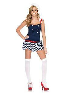 Sexy Halloween Adult Harbor Hottie Yacht Sailor Girl Costume w Hat