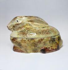 TERRINE en forme de LAPIN en céramique Michel CAUGANT France barbotine
