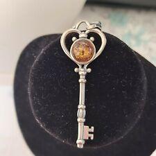 Toller Vintage Schlüssel Bernstein Anhänger 925 Sterling Silber