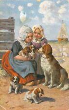 Rare Old Postcard Irish Red & White Setter Mom & Pups + Kids 1911 Netherlands