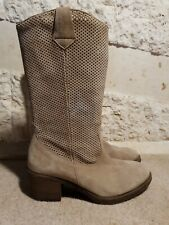 Unisa Ladies Cowboy Perforated Mink Suede Boots UK 4 US 6 EU 37