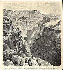 Stampa antica GRAN CANYON Colorado TOROWEAP USA America 1890 Old antique print