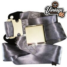 Vintage & Classic Car Grey Chrome Buckle Lap Seat Belt Adjustable Front or Rear