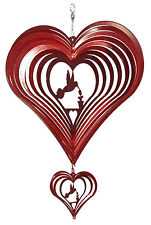 SWEN Products HUMMINGBIRD HEART RED Swirly COMBO Metal Wind Spinner