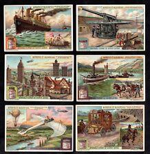 Then & Now Rare Card Set Liebig 1921 Aviation Zeppelins Ocean Liner Plane Car