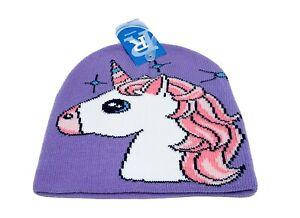 Unicorn Girls Head Beanie Hat Purple