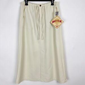 CARIBBEAN JOE Cream Rayon Blend A-Line Maxi Skirt - Petite Size L NWT