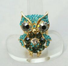 """Owl Blue Gold Crystal 1.5"""" Silver Plated Stretch Band Cocktail Ring Gift"""