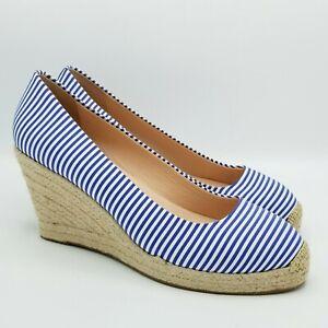 J Crew Seville Espadrille Wedge Heels 10 Blue Stripe