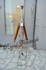 VINTAGE INDUSTRIAL DESIGNER CHROME NAUTICAL SPOT LIGHT TRIPOD ART DECO TRIPOD