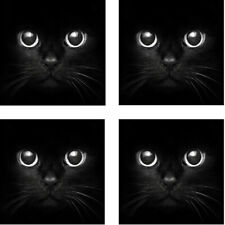 Black Cat Square Rubber Coaster set (4 pack) Great Gift Idea