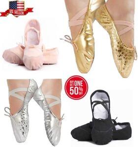 Girls lBallet Dance Gymnastics Yoga Slipper Shoes Gold Silver Leather Black Pink