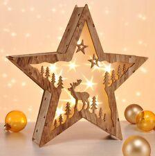 LED Holz Stern Adventsstern Weihnachtsstern Beleuchtet Fenster  Weihnachtsdeko H