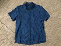 Arcteryx Adult Mens Medium Ravelin Short Sleeve Button Up Shirt Blue 12389