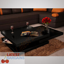 High Gloss Coffee Table Square Extendable 3 Layer Living Room Furniture Modern