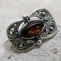 AMAZING BALTIC AMBER 925 STERLING SILVER RING SIZE 5-10