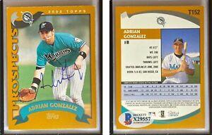 Adrian Gonzalez Signed 2002 Topps Traded #T152 RC Card Beckett BAS COA Marlins