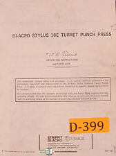 Di Acro Stylus 18E, Turret Punch Press Operations and Parts Manual 1969