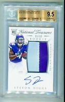 STEFON DIGGS 2015 National Treasures Rookie RC Auto Jersey Patch 95/99 BGS 9.5