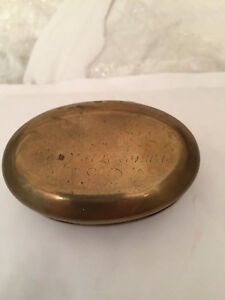 ANTIQUE Early Dutch Engraved stenciling Oval BRASS Tobacco SNUFF BOX Tin