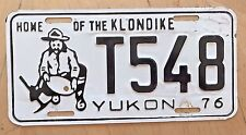 "1976 YUKON CANADA  LICENSE PLATE "" T 548 "" YK 76  HOME OF THE KLONDIKE MINER PAN"