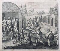 Indiens d'Amérique 1655 Colonisation Espagnol Gottfried Merian Rarissime Gravure