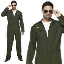 Mens Aviator Costume Figther Gun Flight Suit Top Uniform 80s Fancy Dresss Outfit