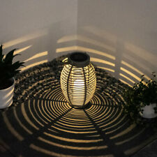 LED Garten Solar Leuchte Lampe Rattan-Design Feuer-Effekt Hängen- oder Stellen