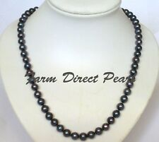 Long 30 Inch 8-9mm ROUND Black Pearl Strand Necklace Genuine Cultured Freshwater