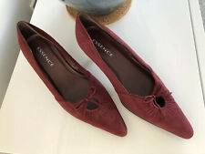 Essence Real Suede pointed Court Shoes, Deep Red, Kitten Heel size UK 5 vgc