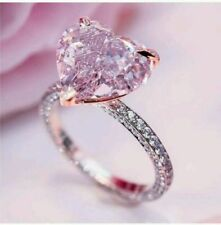 925 Sterling Silver Ring Free Gift 2.1Ct Fancy Pink Diamond Beautiful Engagement