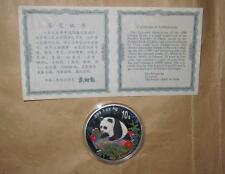 1999 CHINA (PRC) color PANDA $10 silver coin with COA