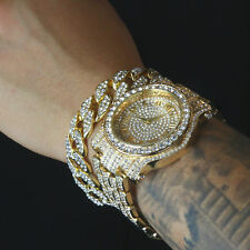 MEN'S HIP HOP GOLD PLATED LUXURY WATCH & FULL ICED CUBAN BRACELET COMBO SET LINK