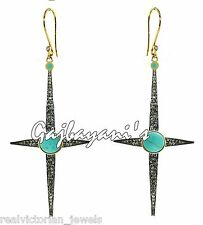 & Fine Turquoise Gold/Silver Drop Earring Tempting 6.70 Ct. Rose Cut Diamond