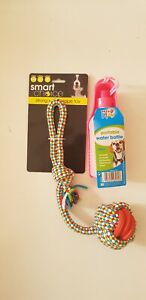 STRONG RUBBER,ROPE TUG DOG TOY & PORTABLE WATER BOTTLE 300ml