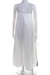 Cynthia Rowley Womens Silk Scoop Neck A-Line Maxi Dress White Size L LL19LL