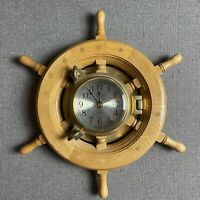 "Ship's Time Heavy Solid Brass Porthole Quartz Clock Wooden Wheel Nautical 12""x14"